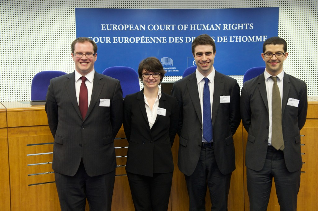 Howard, Anna, Niall and Ali - winners of the European Human Rights Moot in Strasbourg.