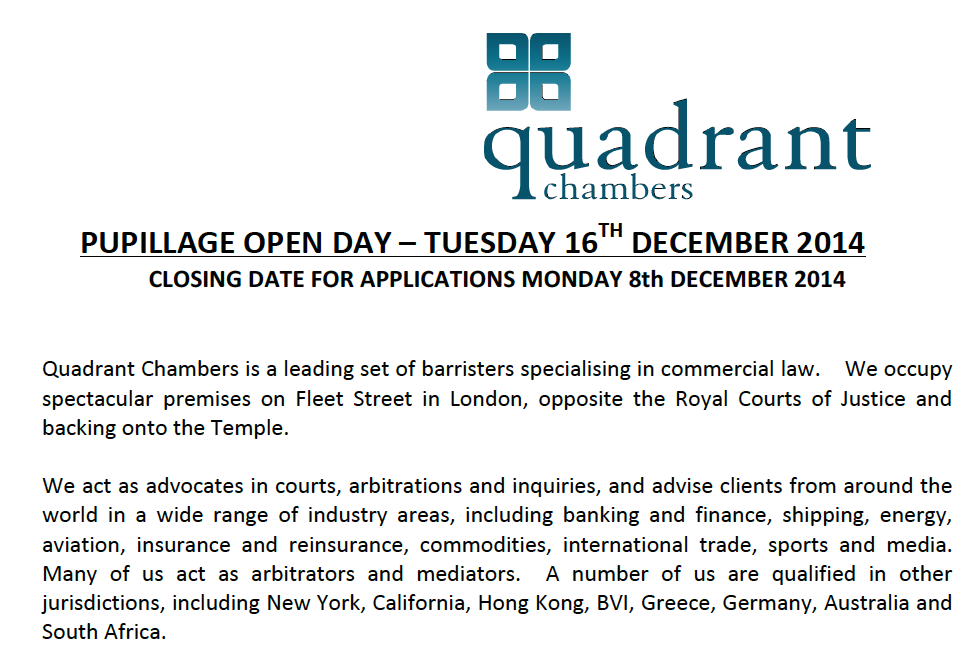 Quadrant chambers pupillage open day future lawyer for Mini pupillage covering letter