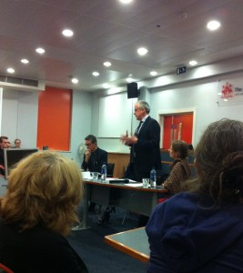 Francis FitzGibbon QC speaking at the City Law School.
