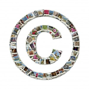 Copyright sign - conceptual illustration made like collage of tr