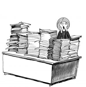 Business, legal or medical cartoon showing woman screaming at paperwork.